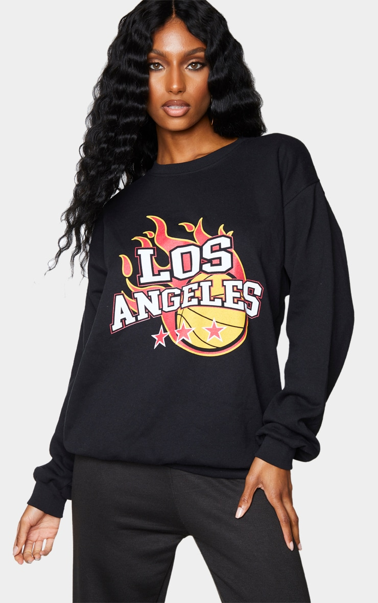 Black Los Angeles Basketball Printed Sweatshirt 1