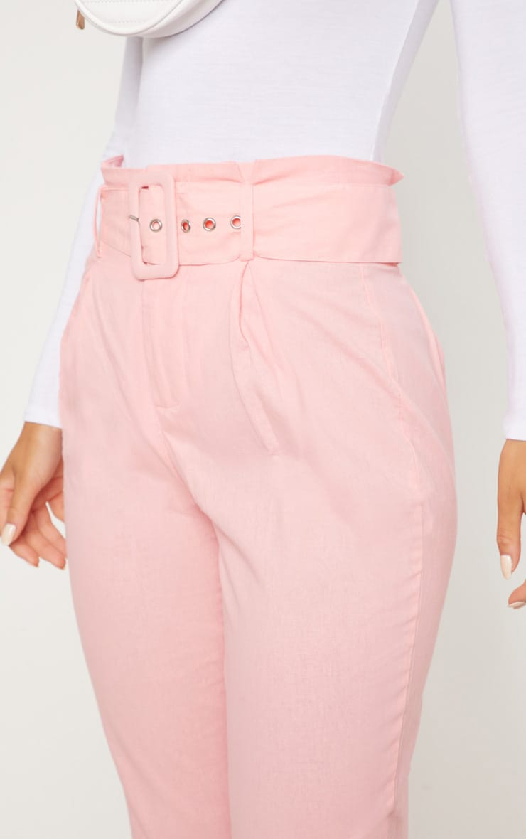 Pastel Pink Belted Paperbag Tapered Trouser 5