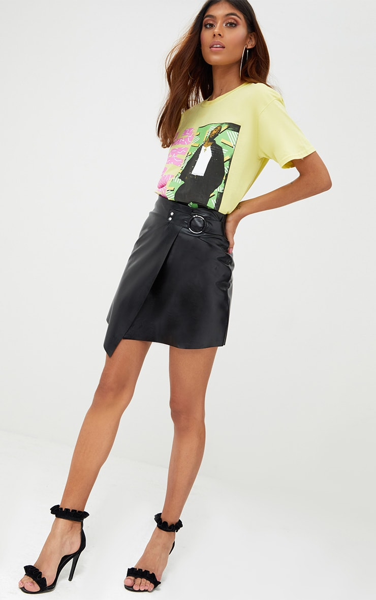 Black Faux Leather Ring Belt Mini Skirt 5