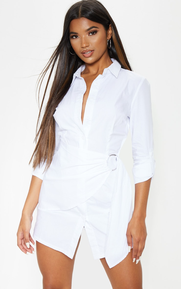 White Ring Detail Wrap Shirt Dress 4