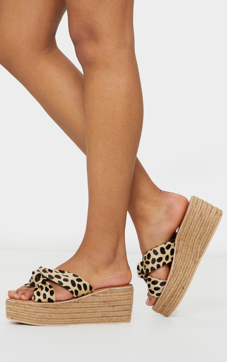 Natural Tiger Print Leather Espadrilles Wedges 2