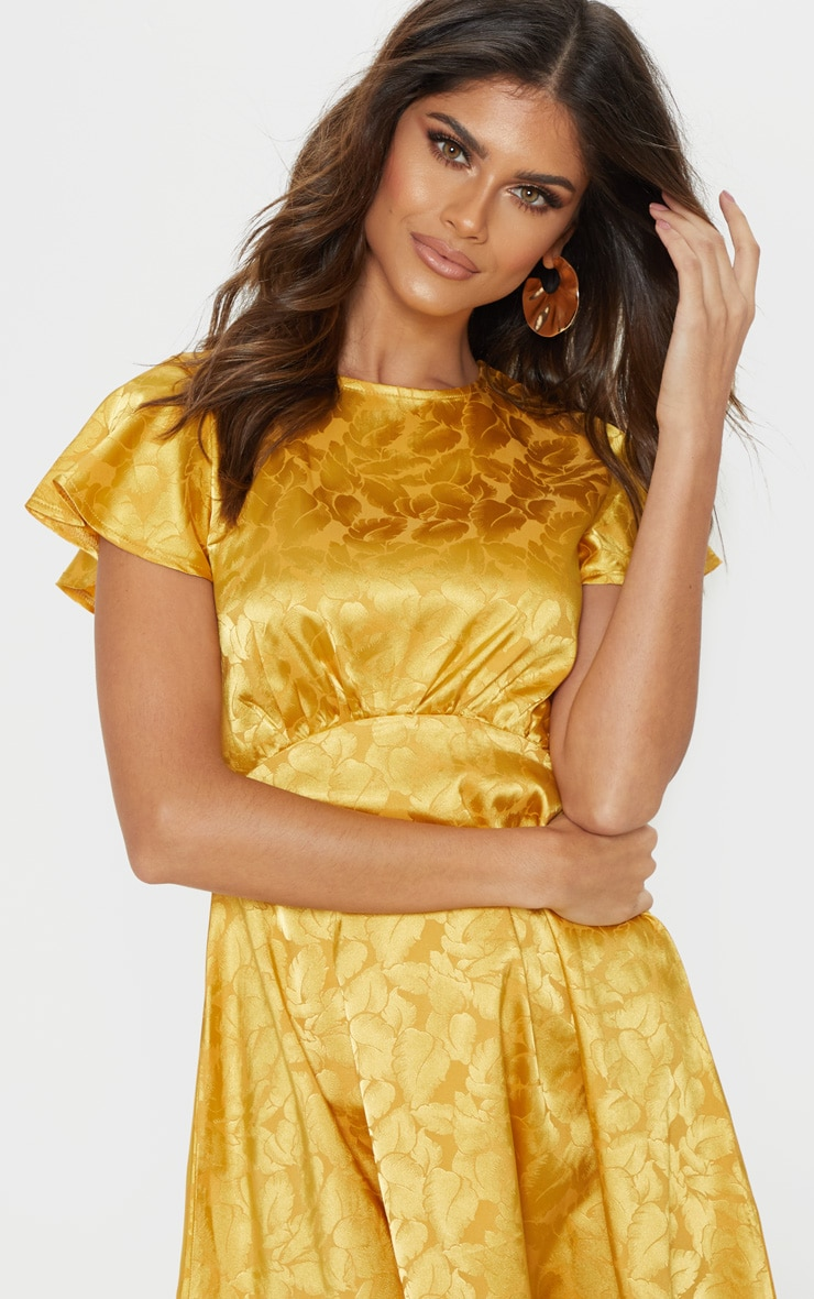 Mustard Floral Jacquard Ruched Top Skater Dress 5