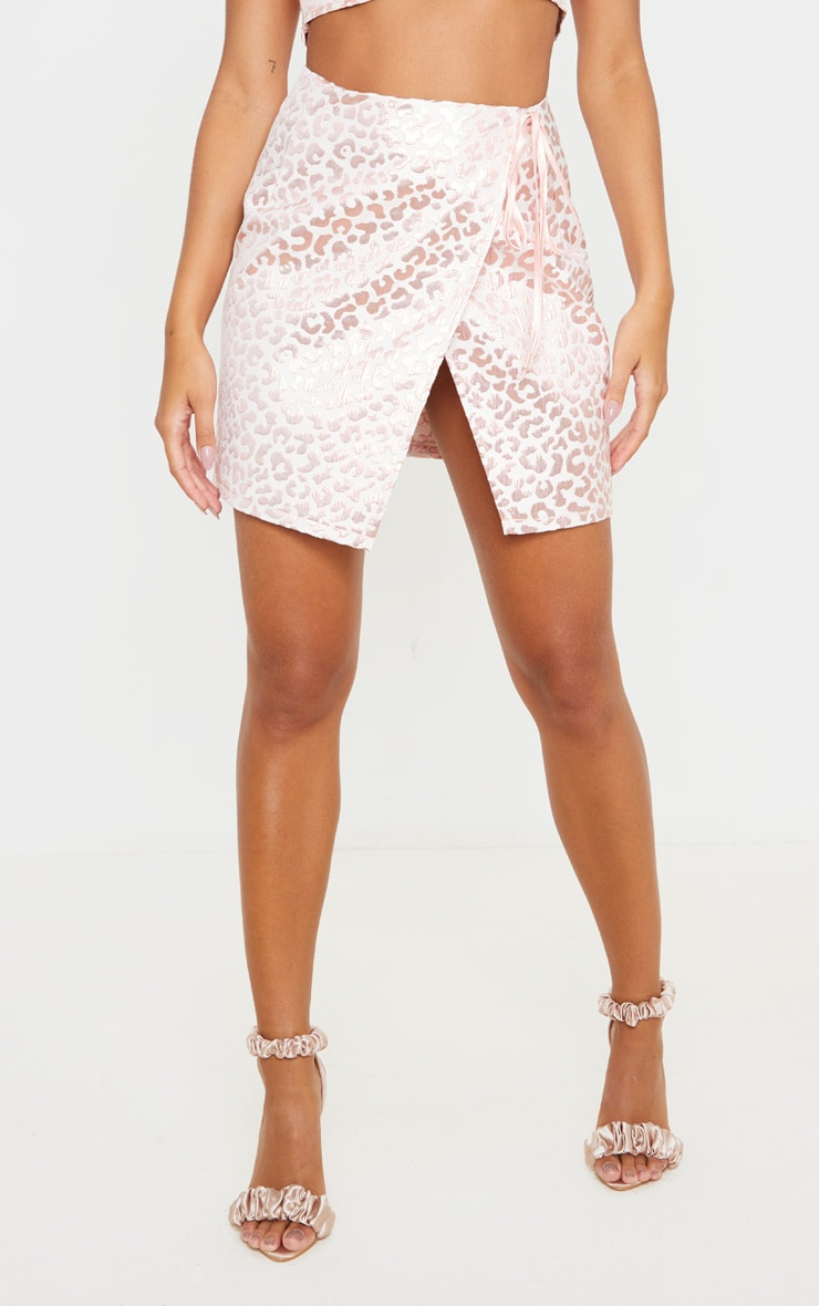 Pink Foil Print Oriental Wrap Detail Mini Skirt 2