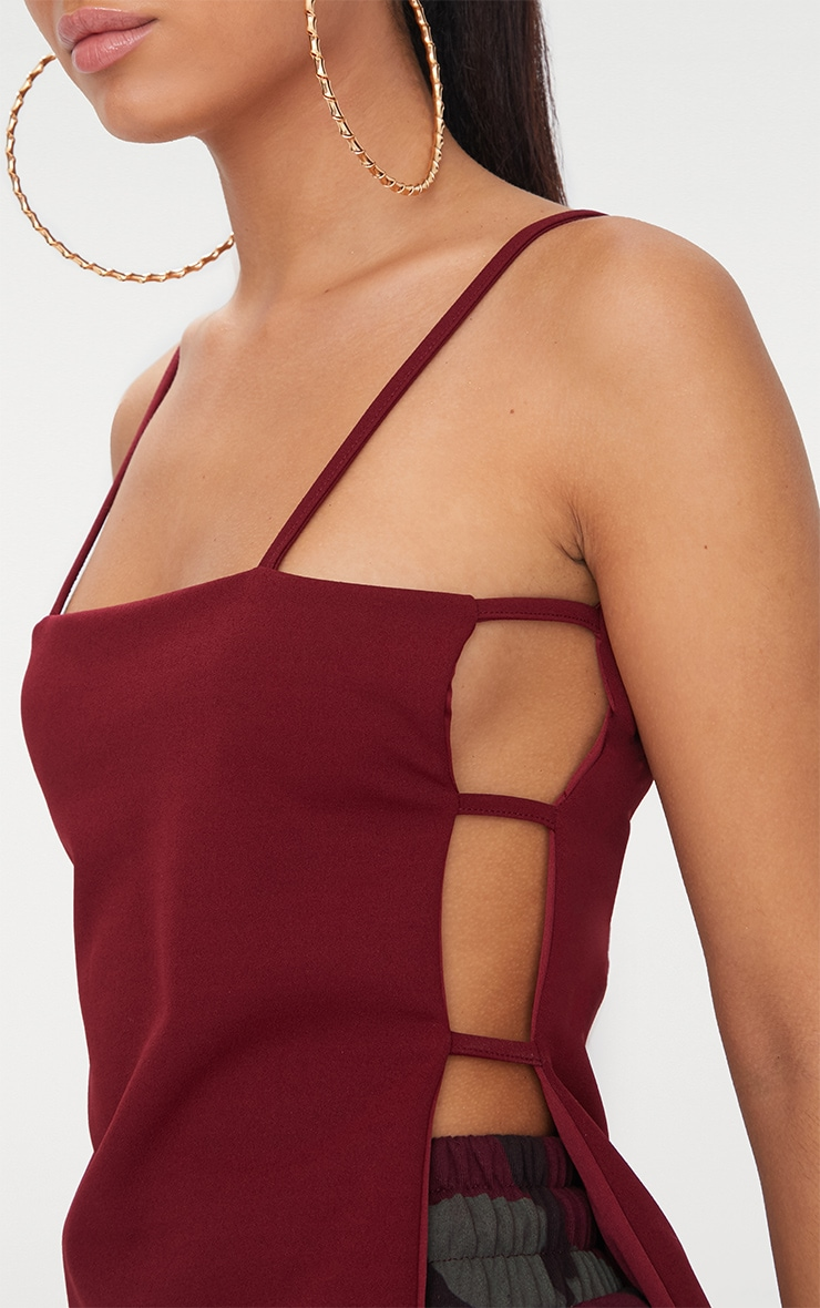 Deep Berry Open Lace Up Side Cami Top 4