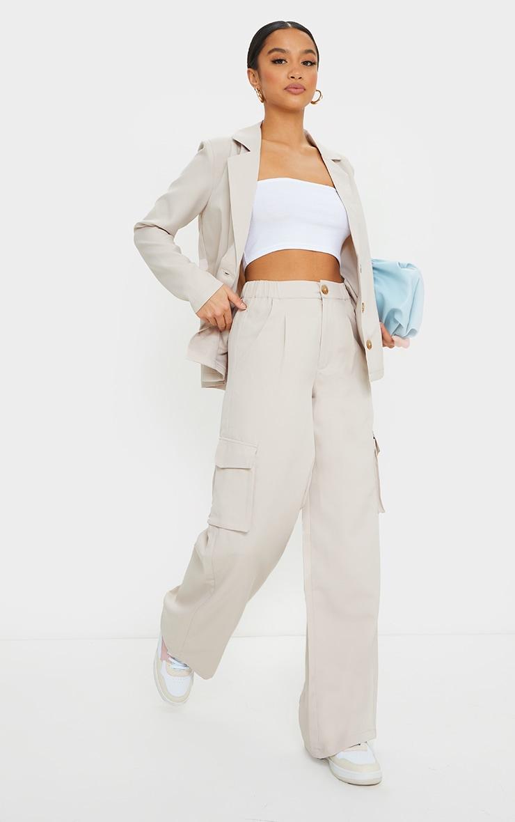 Petite Stone Tailored Utility Pants