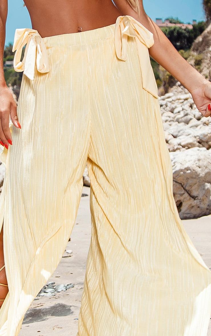 Lemon Split Leg Plisse Beach Pants 4