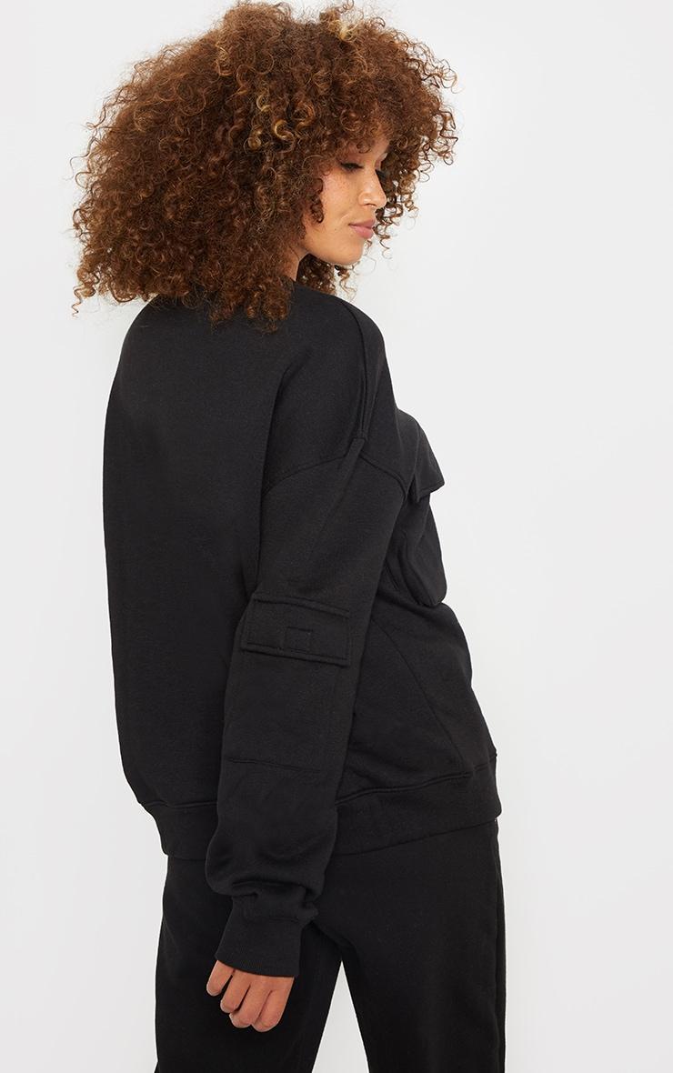 Black Oversized Pocket Detail Sweatshirt 2