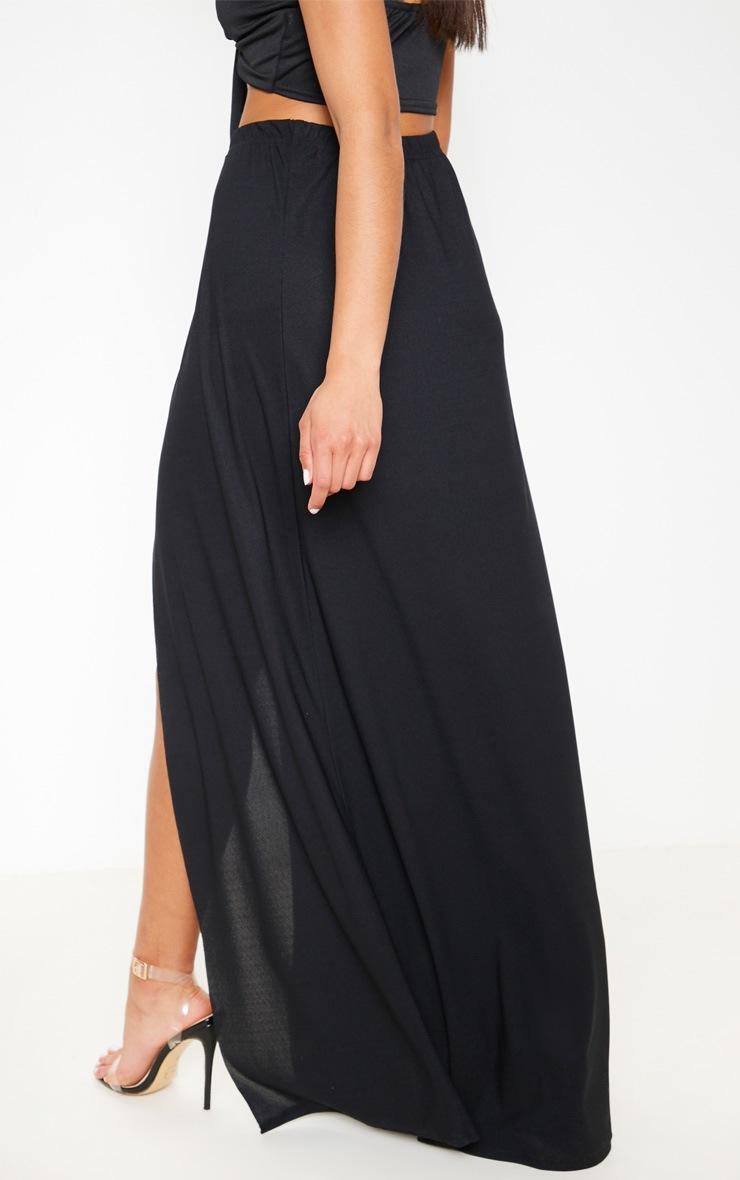 Black High Waisted Split Detail Maxi Skirt 4