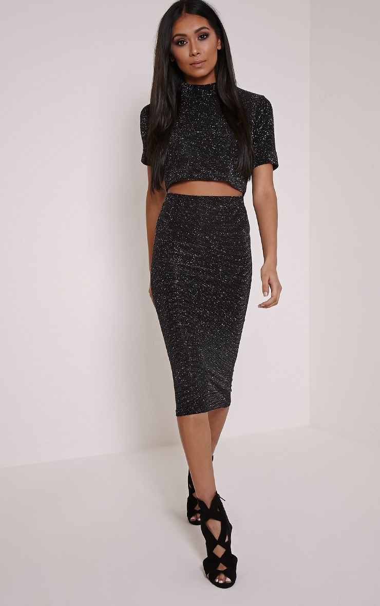 Tracey Silver Lurex Glitter Midi Skirt 1