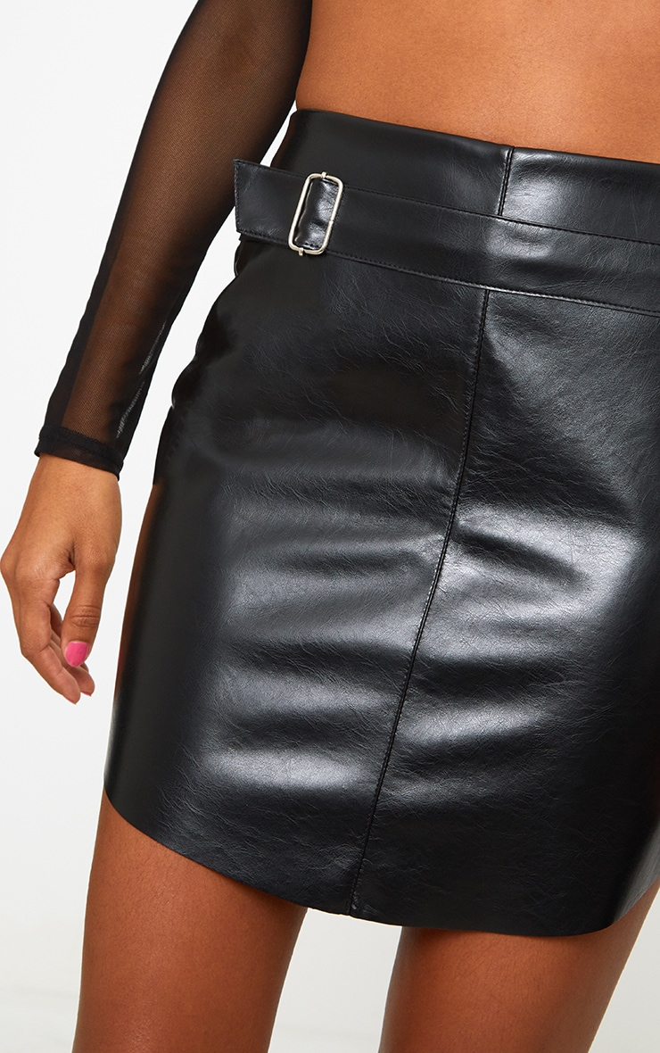 Black Faux Leather Belted Mini Skirt 6