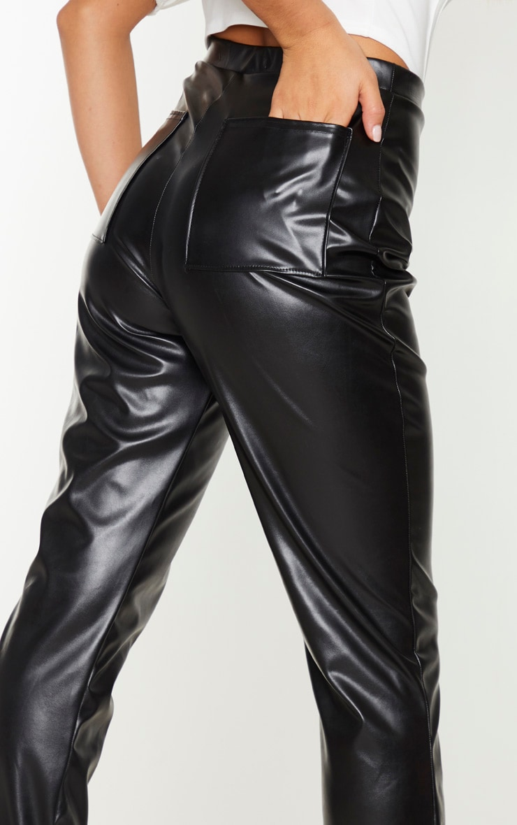Black Faux Leather Pocket Flared Trousers 4