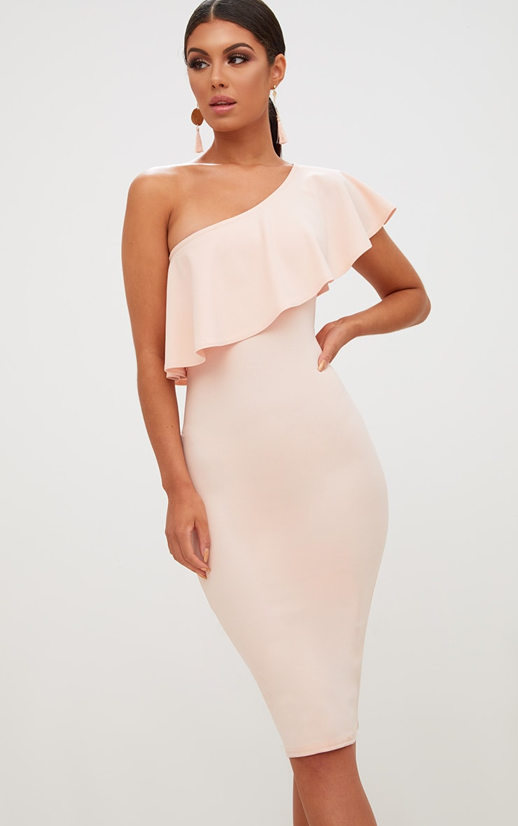 Nude One Shoulder Midi Dress 1