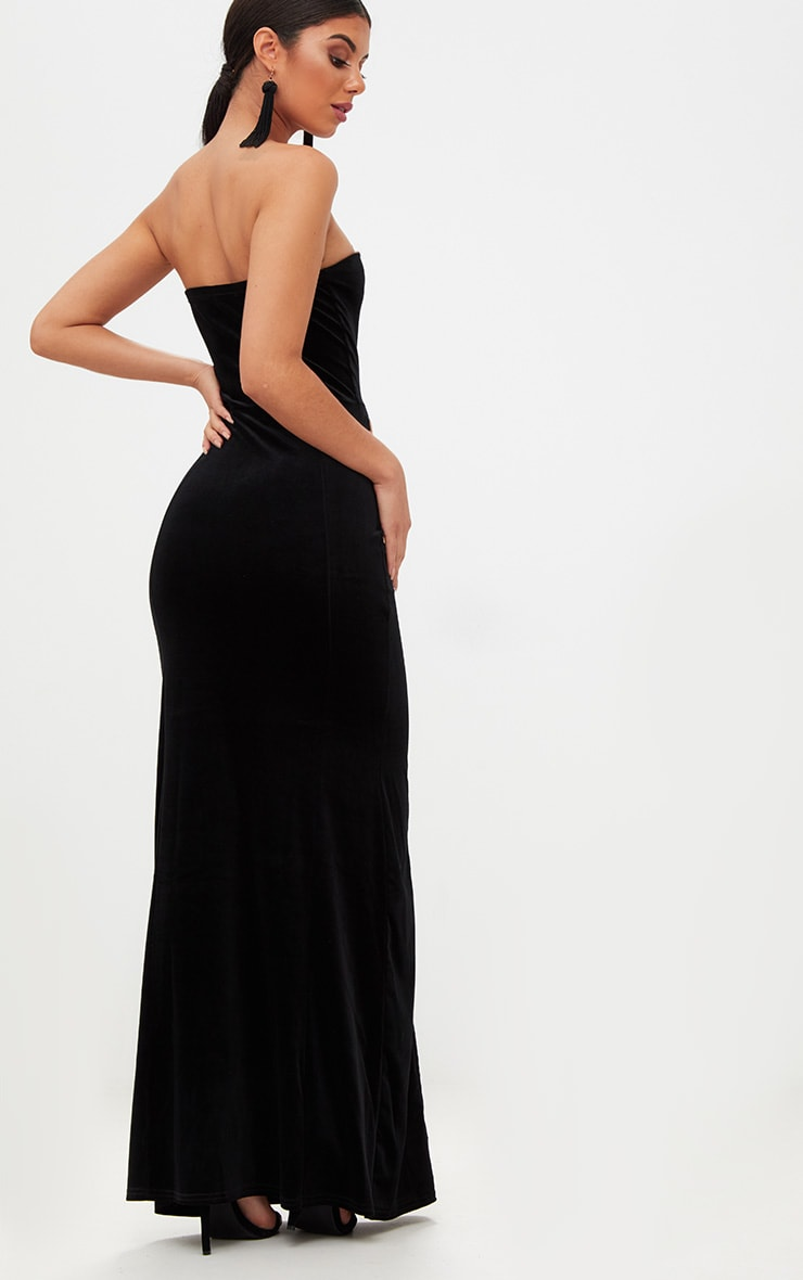 Black Strapless V Plunge Maxi Dress  2