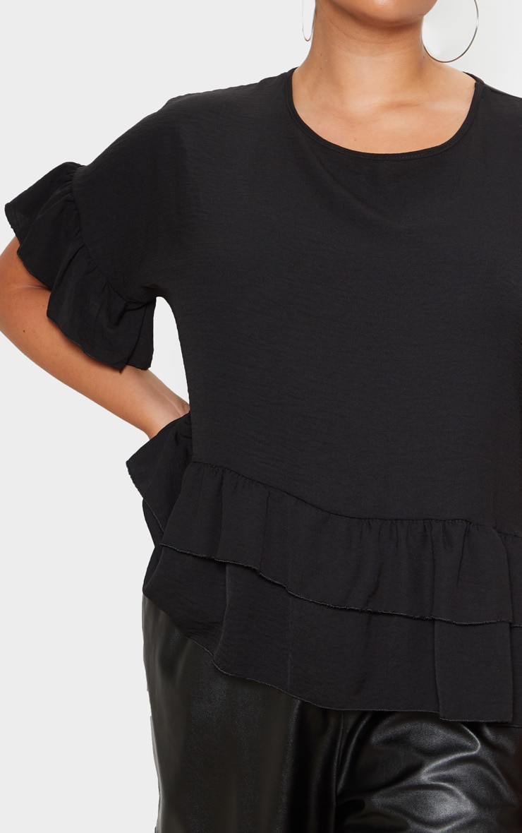 Plus Black Frill Detail Blouse  5