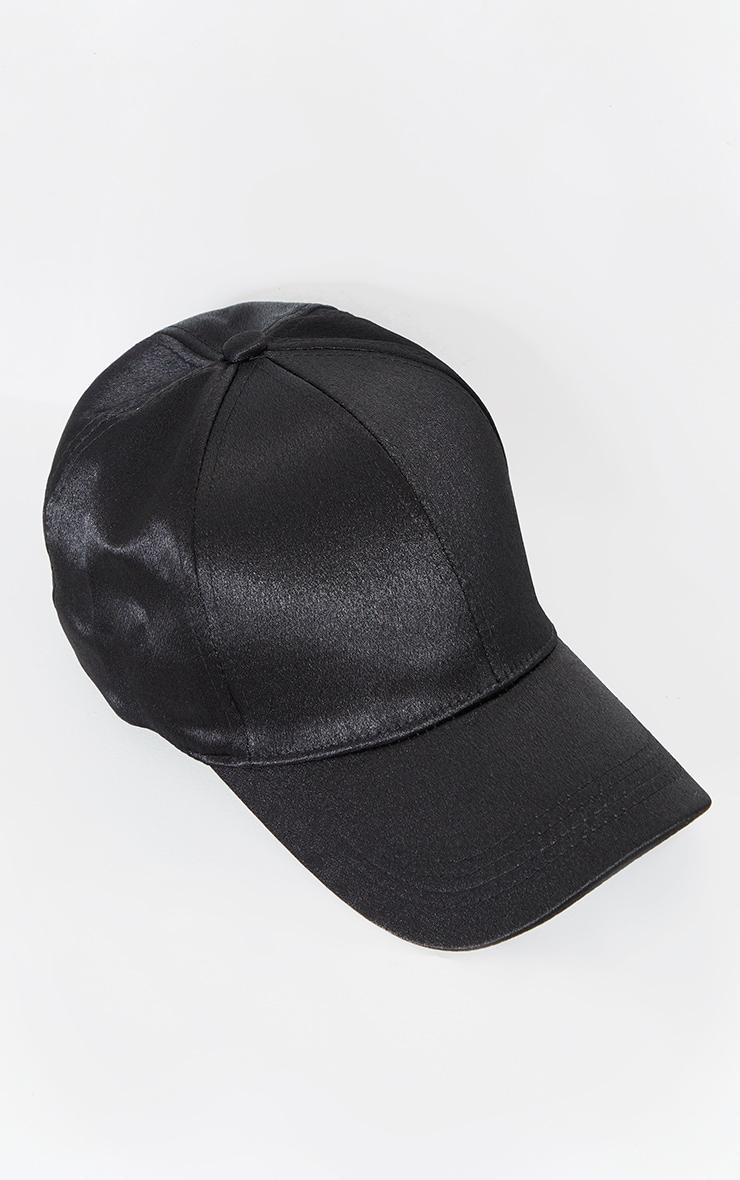 Black Satin Baseball Cap 3