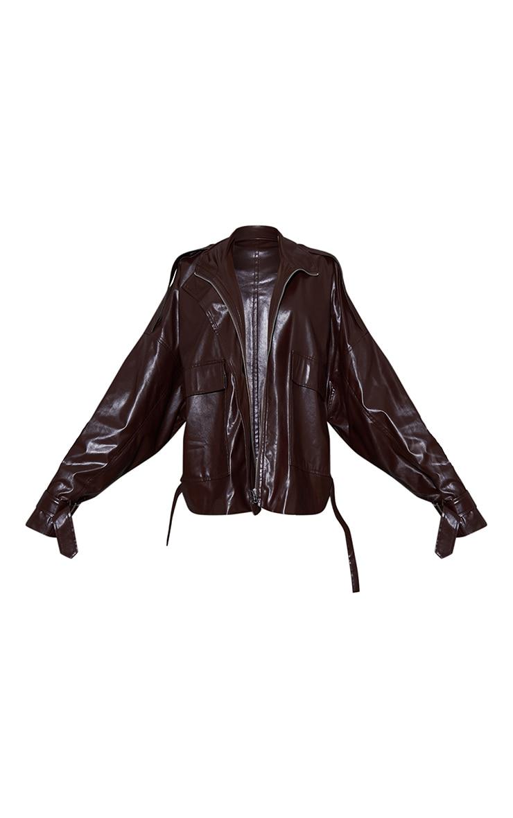 Chocolate Faux Leather Extreme Oversized Biker Jacket 6