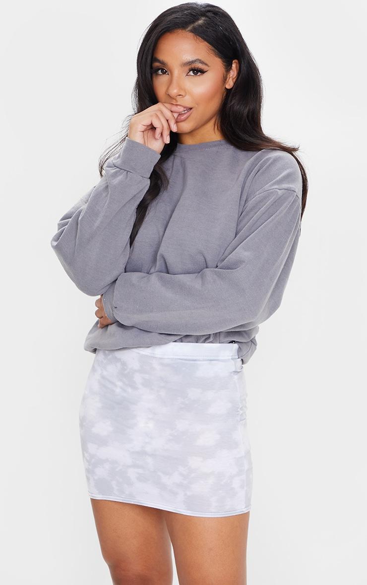 Grey Tie Dye Print Mini Skirt 1