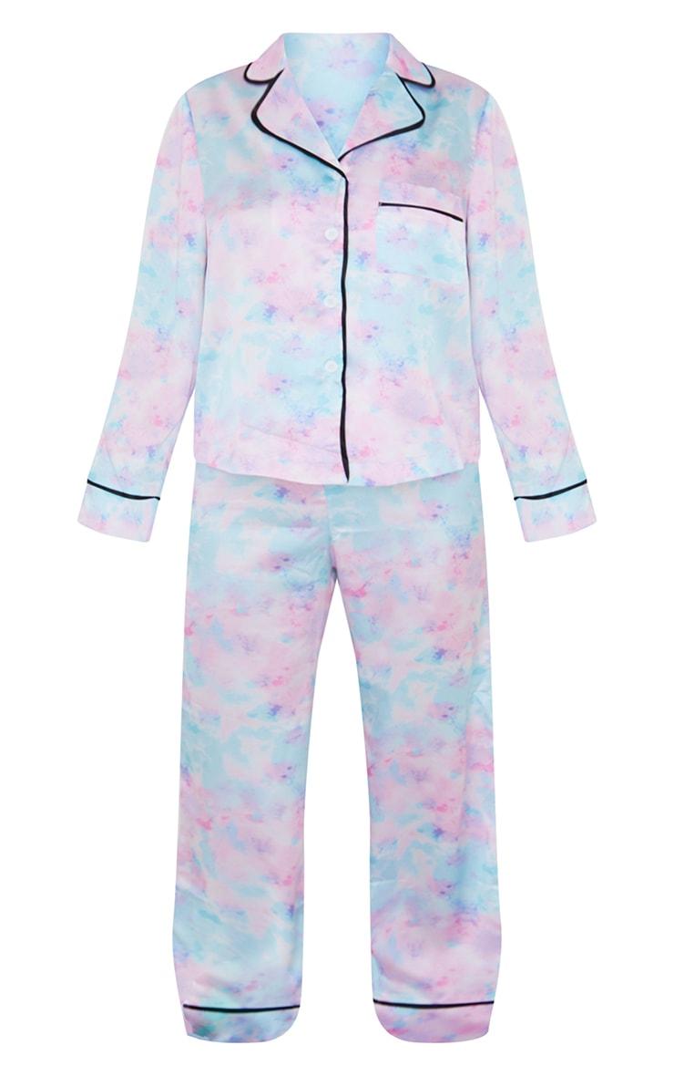 Tie Dye Satin Long Sleeve Shirt And Trousers PJ Set 5