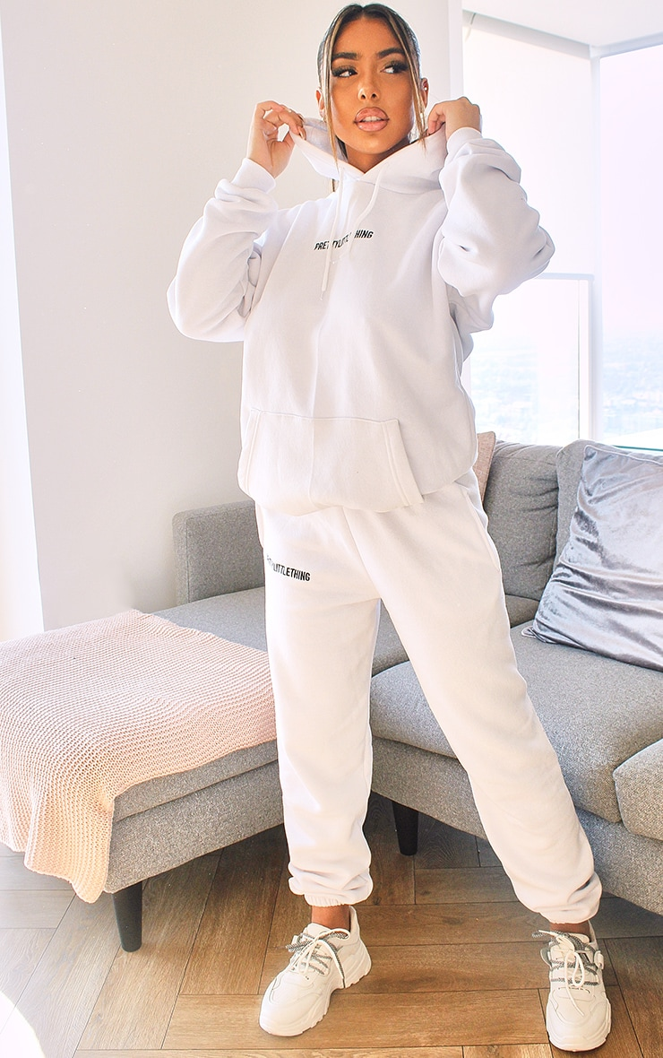 PRETTYLITTLETHING White Embroidered Slogan Joggers 1