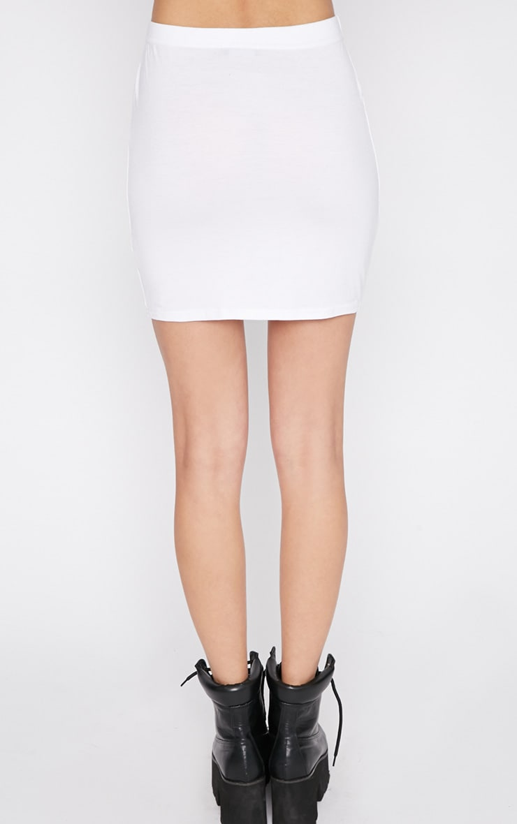 Basic White Bodycon Jersey Mini Skirt 2