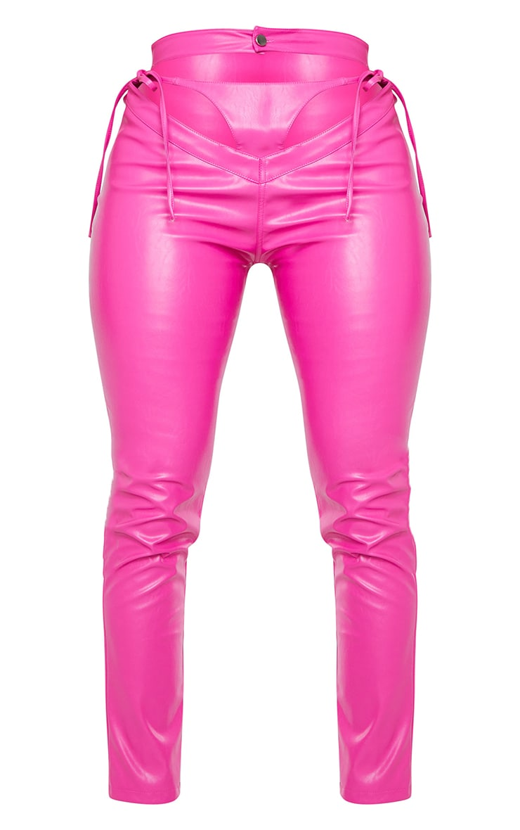 Shape Hot Pink PU Cut Out Tie Detail Straight Leg Trousers 5