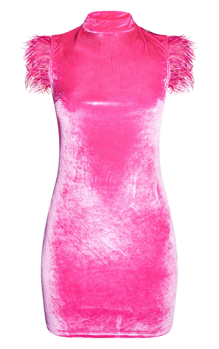 Hot Pink Feather Trim Bodycon Dress 5