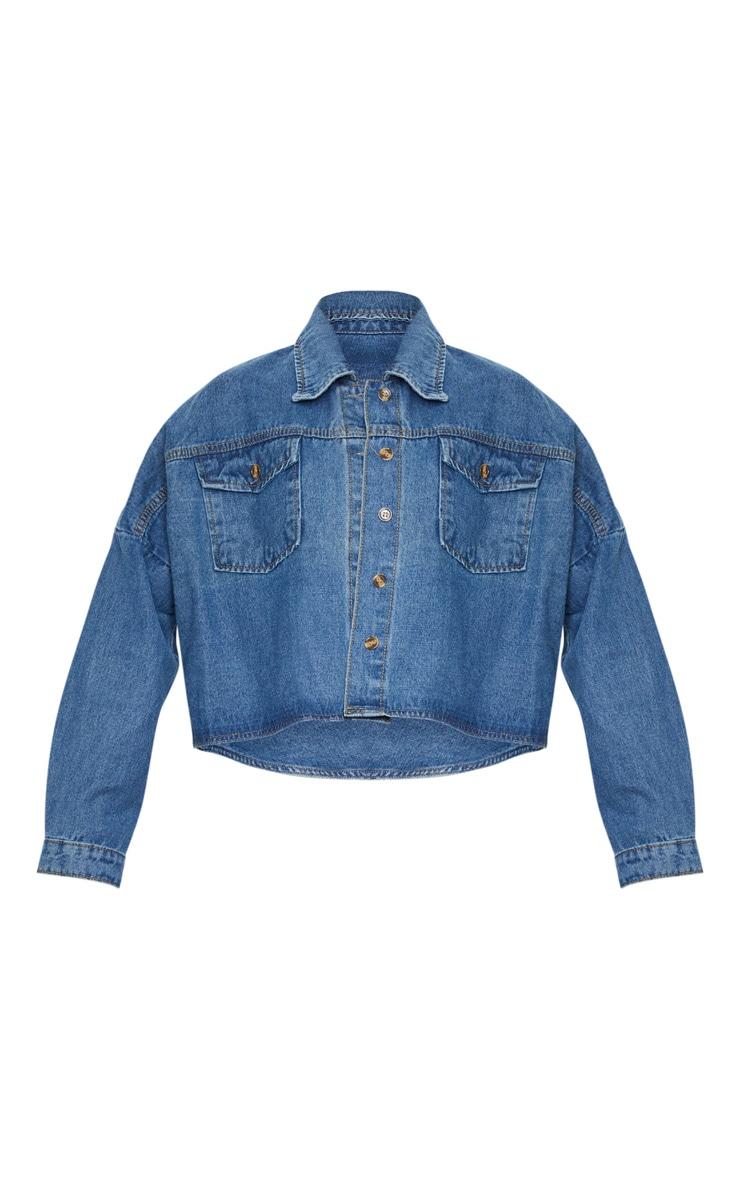 Mid Wash Boxy Drop Shoulder Denim Shirt 3