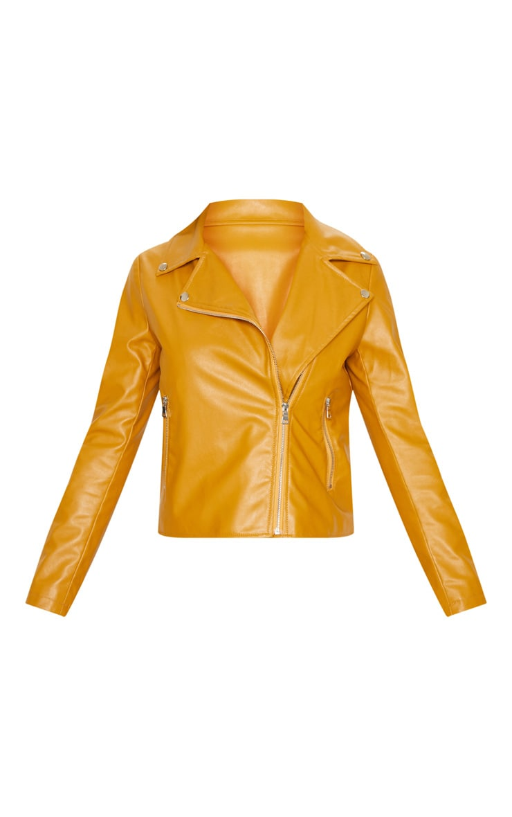 Mustard PU Zipped Biker Jacket  3