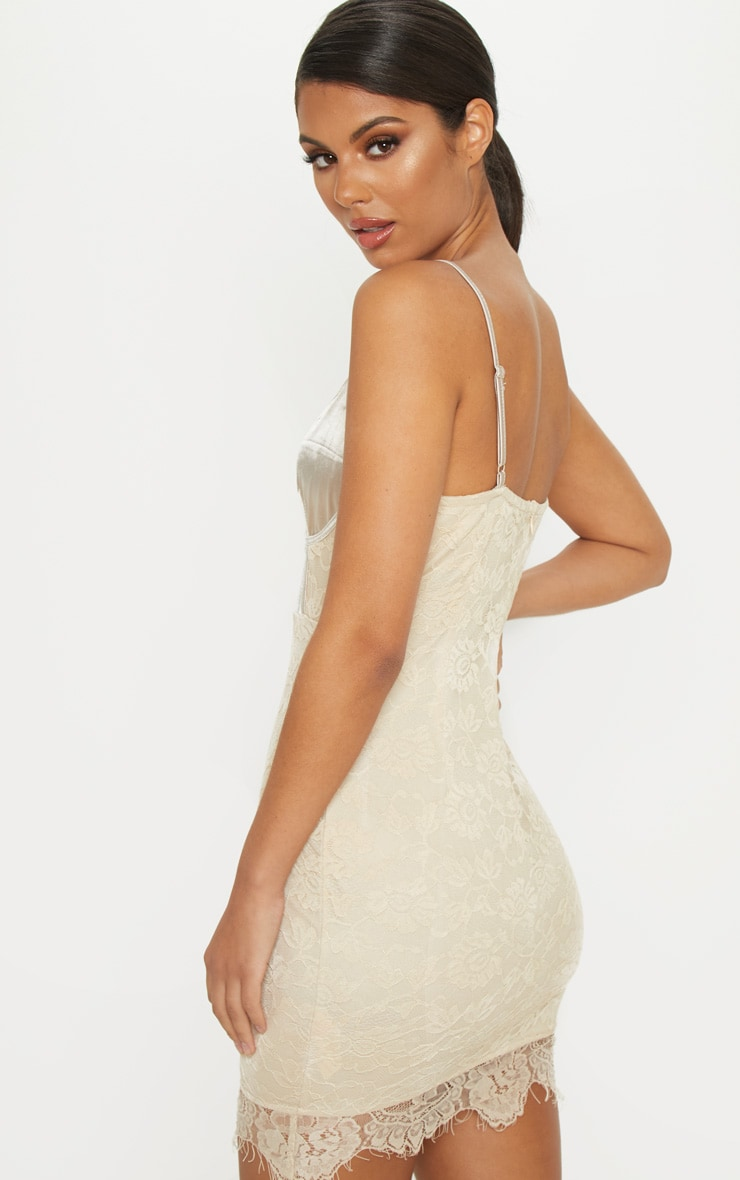 Nude Satin Top Bustier Lace Bodycon Dress 2