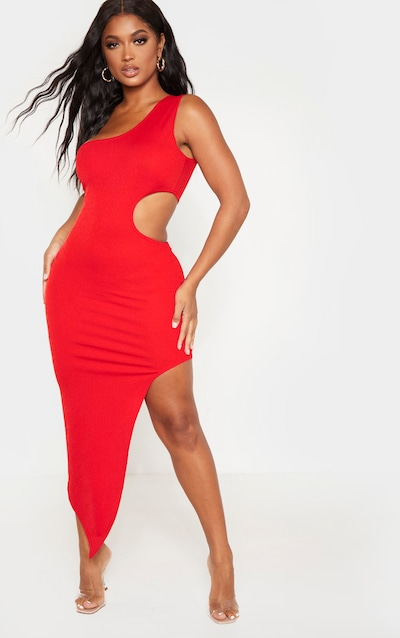 Shape Red One Shoulder Cut Out Midaxi Dress