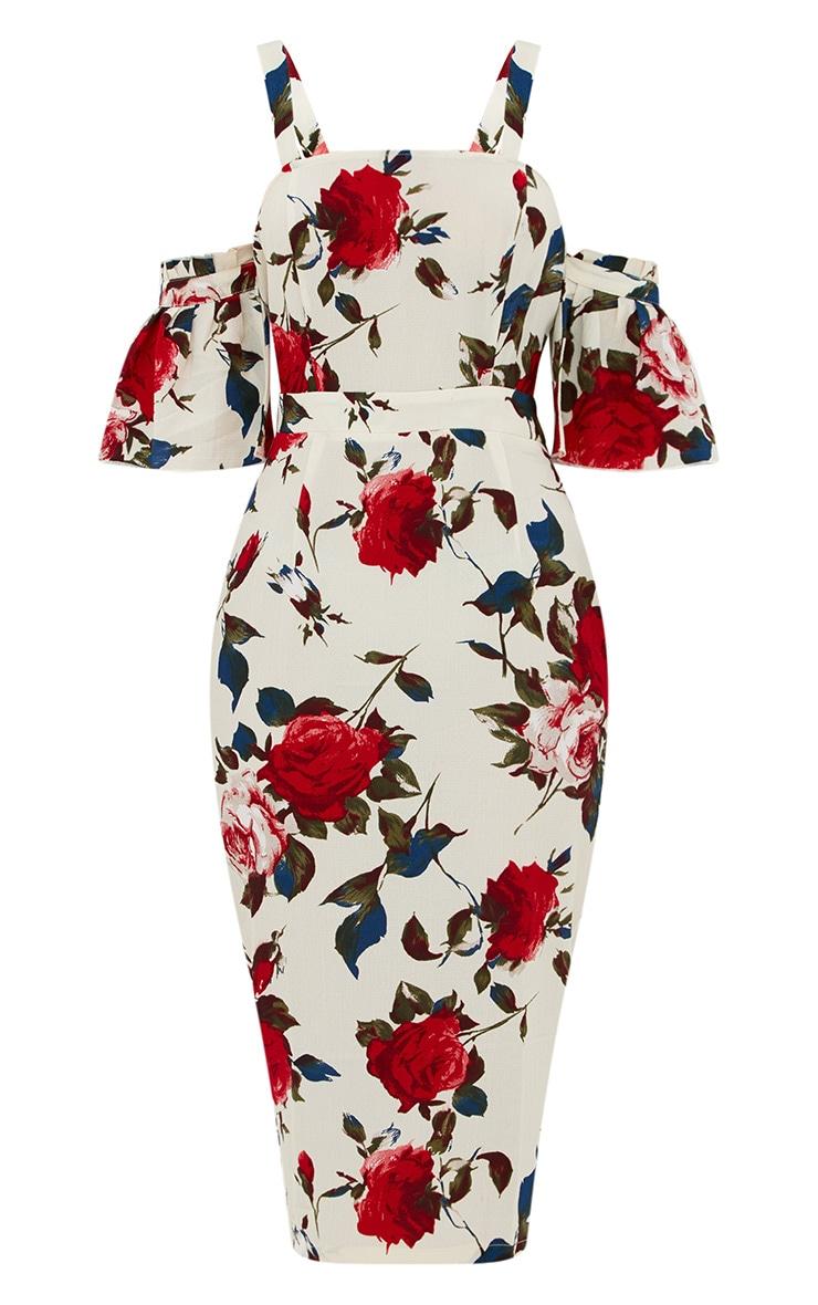 Cream Floral Cold Shoulder Midi Dress 3