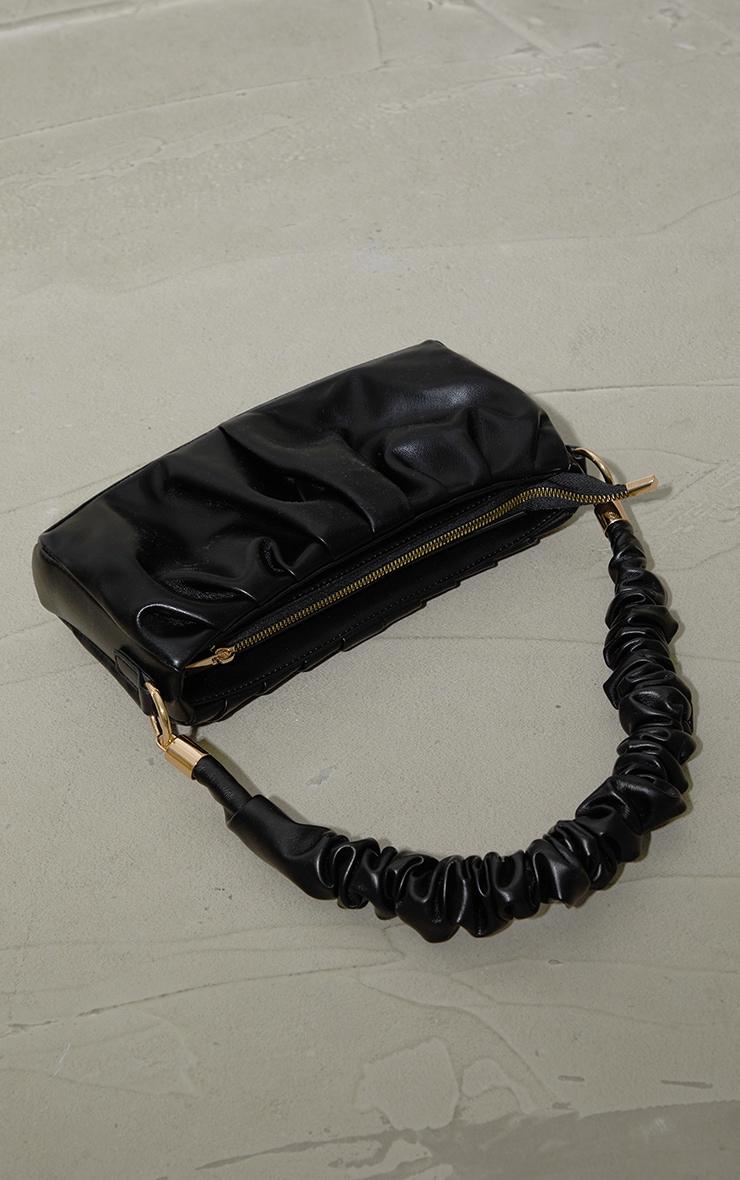 Black Ruched Front And Handle Shoulder Bag 2
