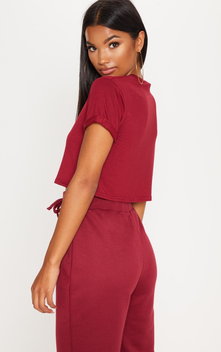 Basic Deep Burgundy Roll Sleeve Crop T Shirt 2