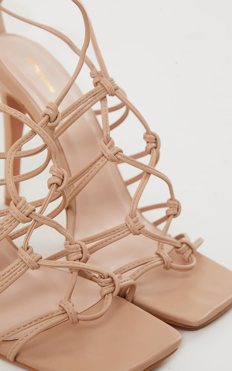 Sand PU Knot Detail Lace Up High Heeled Sandals 3