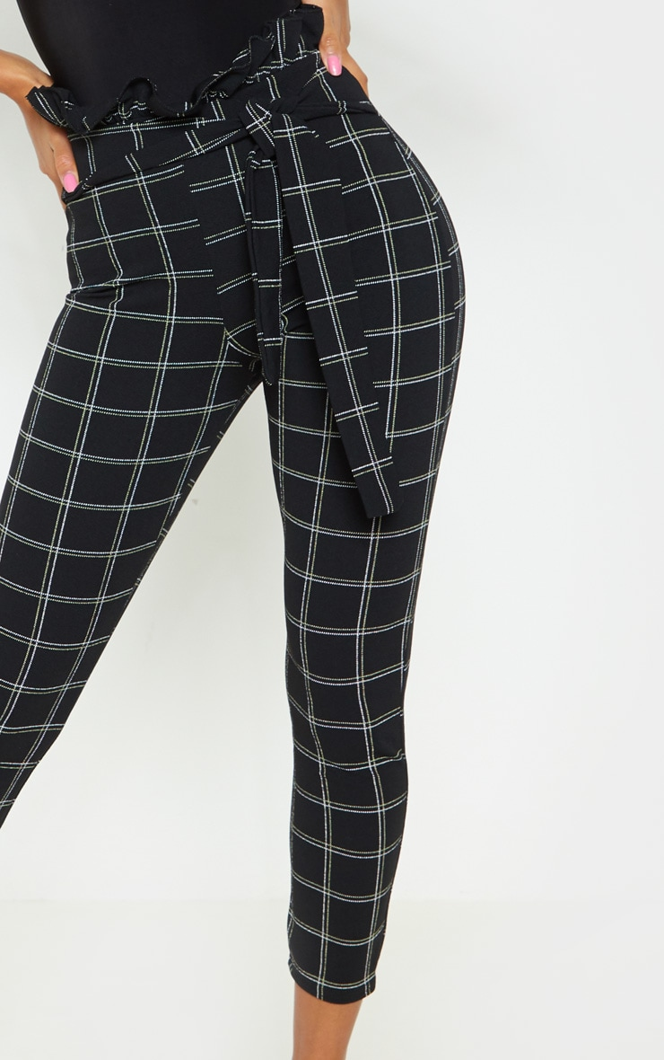Black Tweed Check Paperbag Skinny Pants 5
