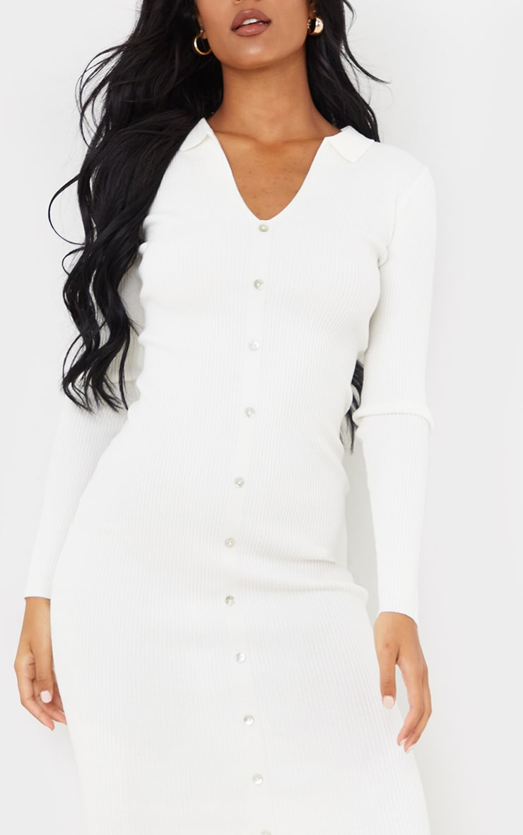 Tall Cream Button Down Collared Knitted Midi Dress 4