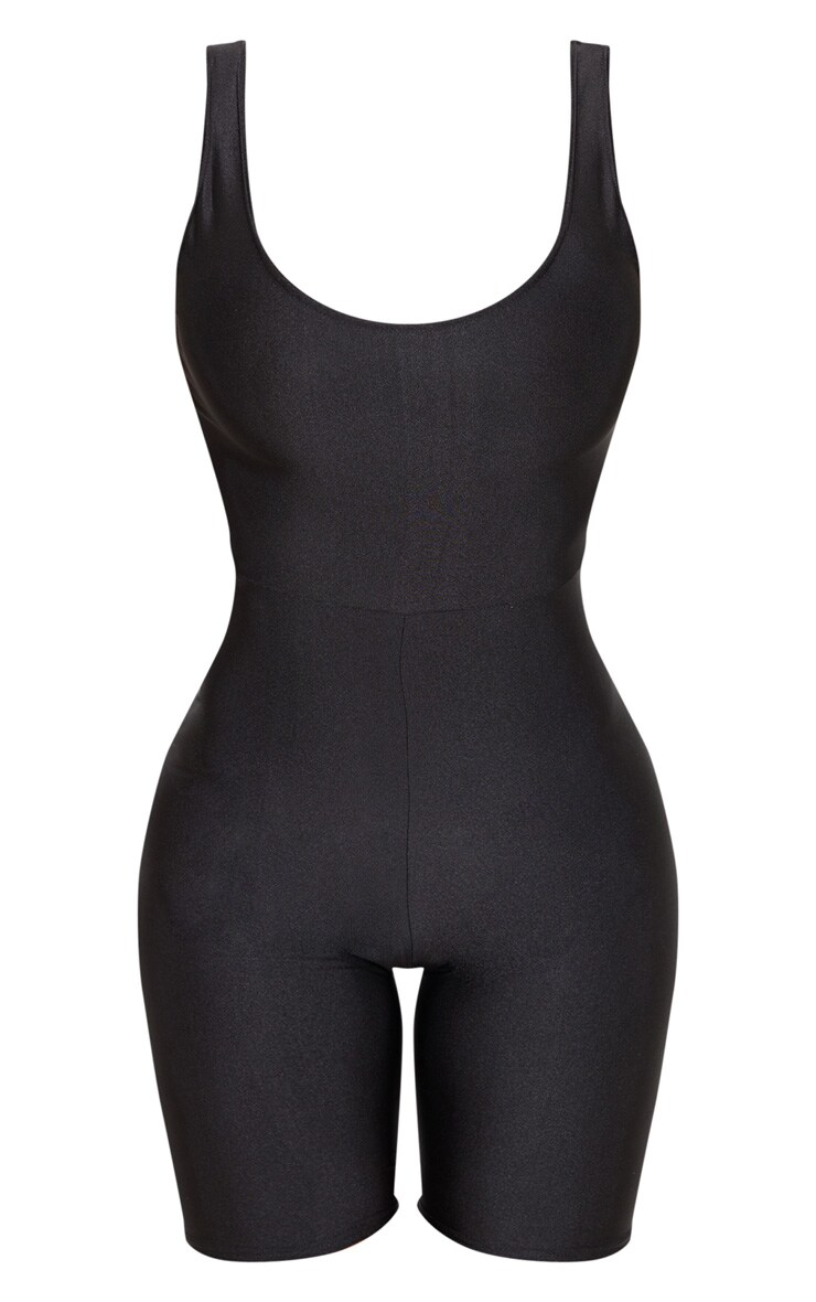 Black Scoop Neck Unitard 3
