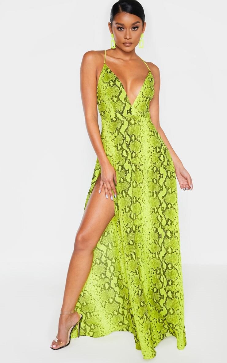 Yellow Snake Print Extreme Split Strappy Back Maxi Dress 1