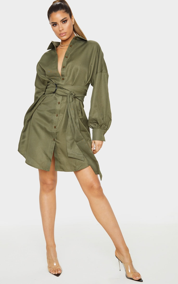 Tall Khaki Belted Tie Shirt Dress 4