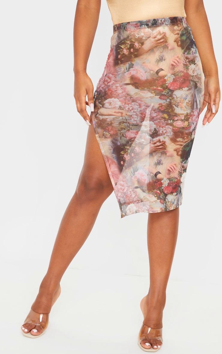 Rose Renaissance Print Mesh Midi Skirt  2