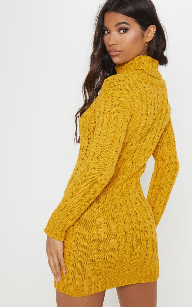 Mustard Cable Knit High Neck Jumper Dress 2