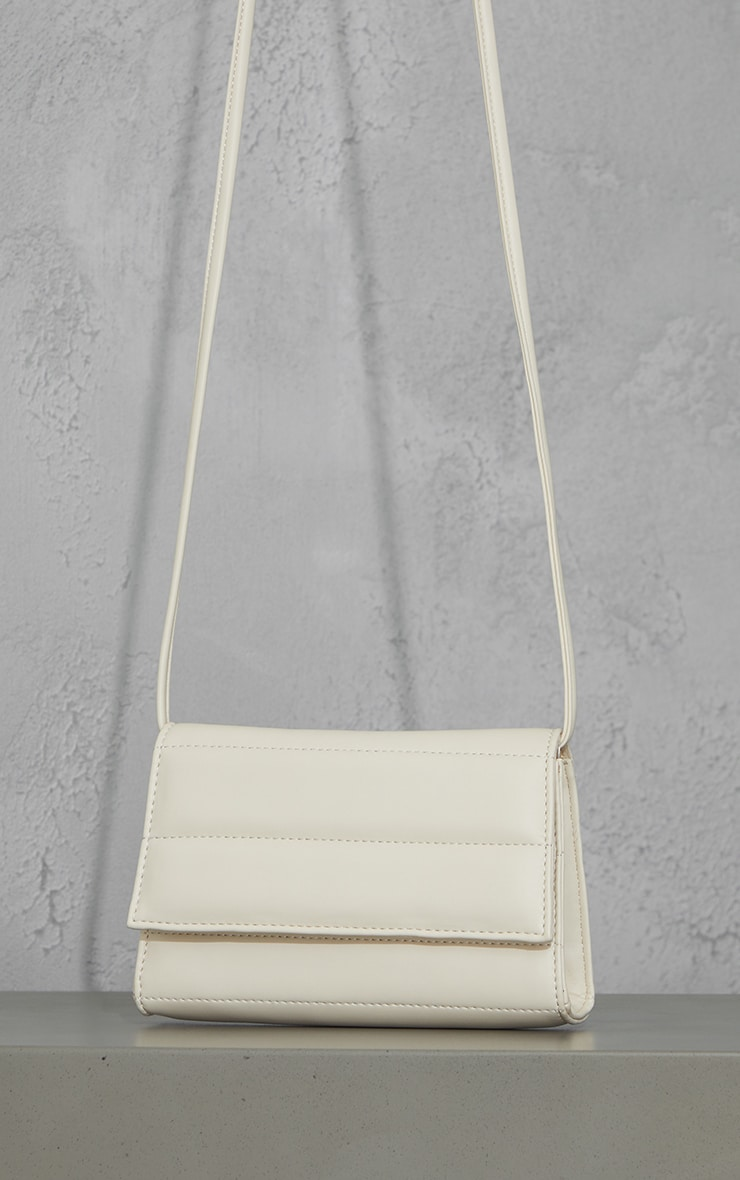 Cream Square Quilted Panel Cross Body Bag 1