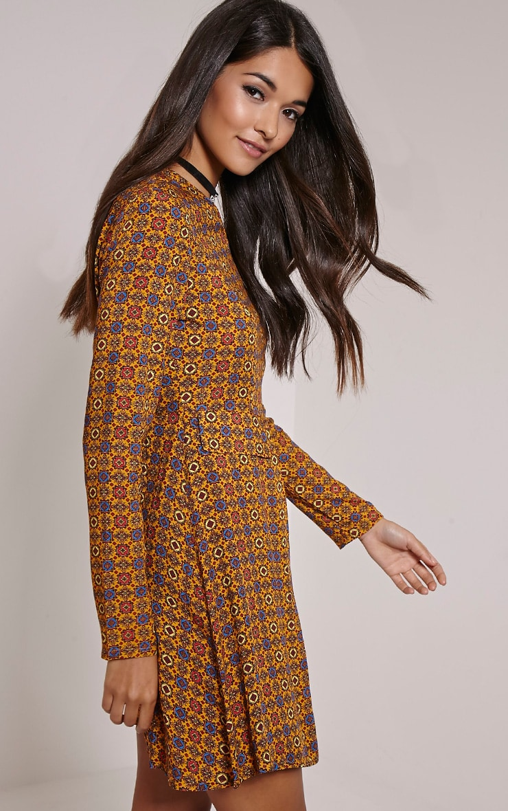 Rylah Orange Tile Print Dress 3