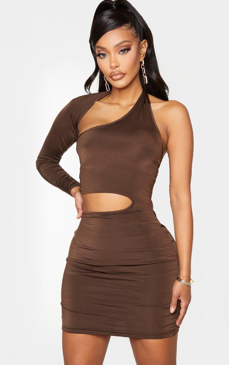 Shape Chocolate Brown Slinky Cut Out One Sleeve Bodycon Dress 1