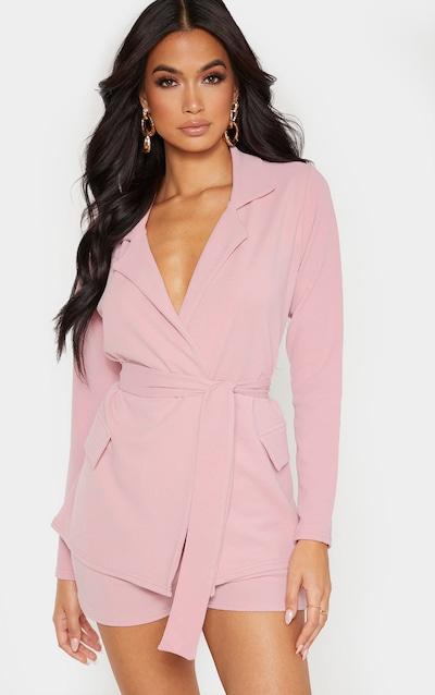 Pink Belted Pocket Detail Blazer