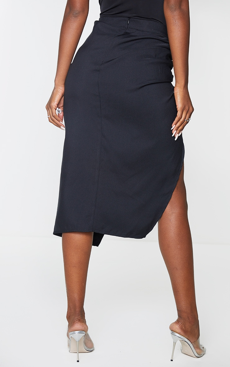 Black Woven Ruched Detail Midi Skirt 3