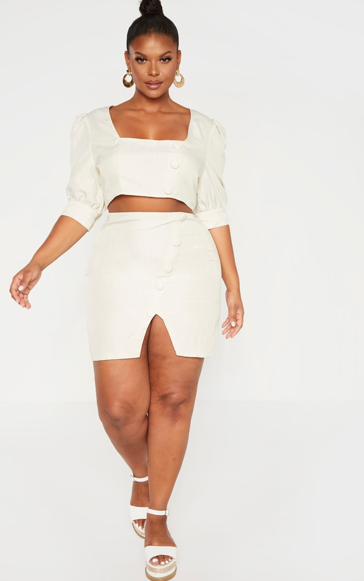 Plus Stone Woven Square Neck Puff Sleeve Crop Top  4