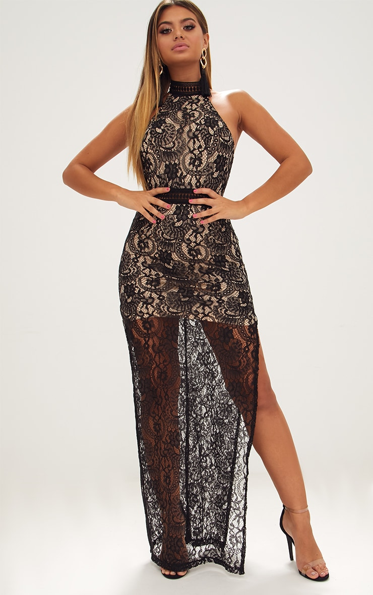 Black High Neck Lace Maxi Dress 1