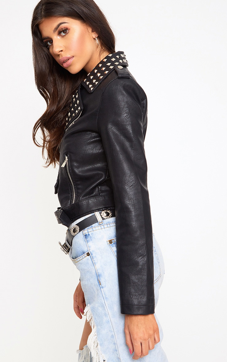 Black Studded PU Biker Jacket 2