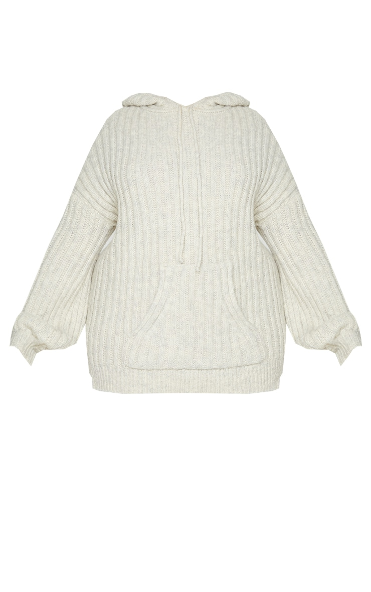 Plus Oatmeal Ribbed Chunky Knit Oversized Hoodie 5